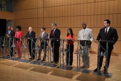 Democratic candidates take swipes at Maryland Gov. Larry Hogan in first TV debate of election season