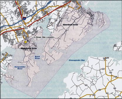 A map of the Edgewood Area of Aberdeen Proving Ground. The place where radioactive material was found is in the north central part of the post, about 800 feet from the Edgewood Road (Route 755) gate.