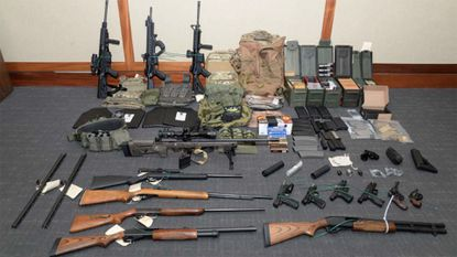A stockpile of weapons authorities say they found in the Maryland home of Christopher Paul Hasson, who they say was planning a mass terror attack.