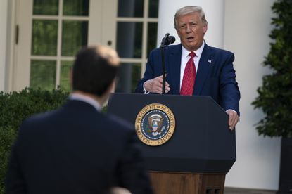 President Donald Trump speaks during a news conference in the Rose Garden of the White House, Tuesday, July 14, 2020, in Washington. (AP Photo/Evan Vucci)