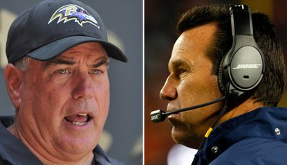 Ravens defensive coordinator Dean Pees, left, will be playing a chess match against his friend and former colleague, Denver Broncos coach Gary Kubiak when the two teams open their season Sept. 13 in Denver.