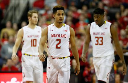 Maryland guardMelo Trimble looks on in the first half against the Northwestern Wildcats at Xfinity Center on Jan. 19, 2016 in College Park.