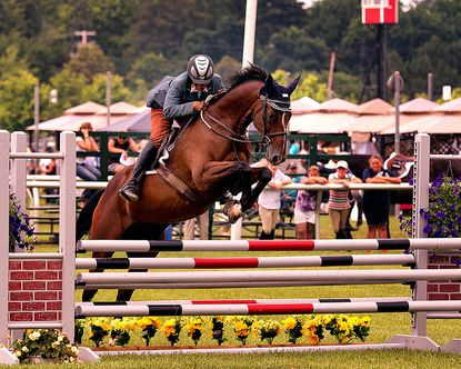 Terry West competes in the 2013 Totally Thoroughbred Horse Show at the Pimlico Race Course infield.