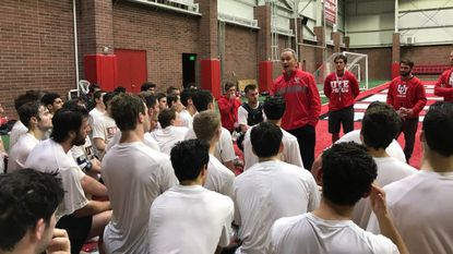 Utah men's lacrosse coach Brian Holman talks to his team during practice in January. Holman is in his second season coaching the school's club team before the Utes transition to Division I next season.