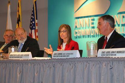 From left, U.S. District Court Judge Richard D. Bennett, Special Appeals Court Judge Timothy E. Meredith, Anne Arundel Circuit Court Judge Laura S. Kiessling and Family Law Magistrate John F. Gunning discuss technology and social media in the law at a 2017 conference.