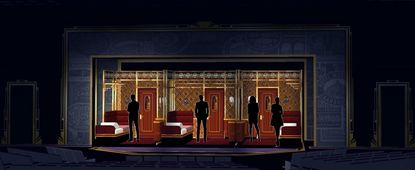 """Three side-by-side train compartments are mounted on wagons for """"Agatha Christie's Murder on the Orient Express"""" at Everyman Theatre."""