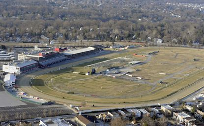 An aerial view of Pimlico Race Course in Baltimore.