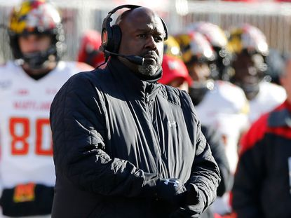 Maryland head coach Mike Locksley watches his team against Ohio State during the second half of an NCAA college football game Saturday, Nov. 9, 2019, in Columbus, Ohio. Ohio State beat Maryland 73-14. (AP Photo/Jay LaPrete)