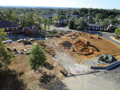 Work gets underway for the 24,000-square foot Center for Performing Arts at Mount de Sales Academy in Catonsville's Academy Heights neighborhood. Construction is expected to finish by December 2020, according to school officials. (Courtesy of Mount de Sales Academy)