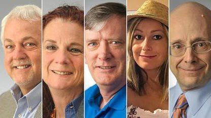 This photo combination shows the victims of the shooting in the newsroom of the Capital Gazette in Annapolis on Thursday, June 28, 2018. From left, Rob Hiaasen, Wendi Winters, John McNamara, Rebecca Smith and Gerald Fischman.