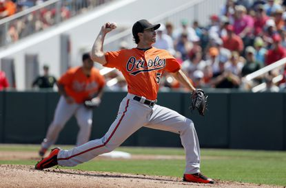 Baltimore Orioles starting pitcher Miguel Gonzalez works against the Minnesota Twins during a spring training baseball game, Sunday, March 13, 2016, in Fort Myers, Fla.