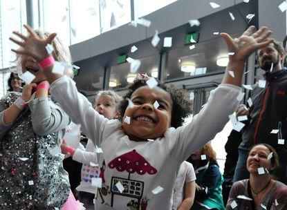 Stella Rose Dorazio celebrates at the Maryland Science Center.