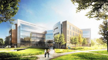 The four-story, 145,300 square foot SET Building will feature flexible classroom space, laboratories and an outdoor classroom for students studying science, engineering, health, cybersecurity and other program studies.