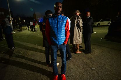 DeRay McKesson, one of the most well-known social media presences and civil rights leaders to emerge from the Ferguson protests, at a protest in support of Freddie Gray.