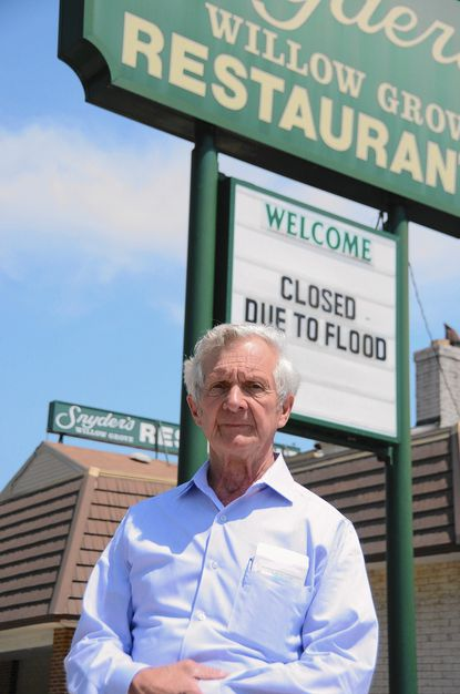 Vernon Snyder says flooding has forced him to close Snyder's Willow Grove, a restaurant and banquet hall in Linthicum that has operated for 77 years. The April 30 storm sent water from the nearby Patapsco River streaming into his restaurant. The basement was completely flooded and the water was a foot deep on the first floor.