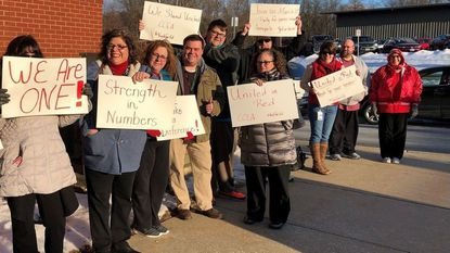 Carroll County Education Association members rallied outside the Board of Education building on Wednesday, Feb. 13, 2019, before the board voted to accept the fiscal year 2020 budget.