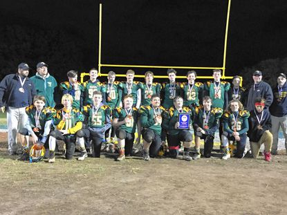 The Westminster Wildcats recently won a Carroll County Youth Football League Super Bowl title for the 7-8 age group. Front row, from let: Austin Bainbridge, Connor Moran, Ben Ruby, Cian McCauley, Luke Proffitt, Aiden Stair, Noah Renner, Will Tobias, Skylar Williams. Back row: Aiden Stino, Teddy Boothe, Thomas Andrews, Jeremy Smulian, Erick Stranko, Connor Levinson, Anthony Cegielski, Cam Vogel, Christian Heck.