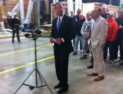 """Gov. Martin O'Malley and actor Kevin Spacey on the """"House of Cards"""" set surrounded by Maryland crew members who have found steady employment on the Netflix series."""