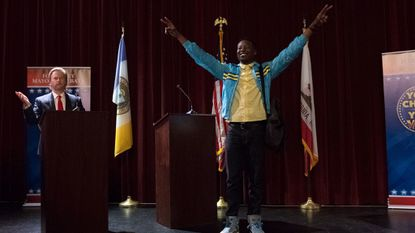 """Brandon Micheal Hall, right, and David Spade in """"The Mayor."""""""