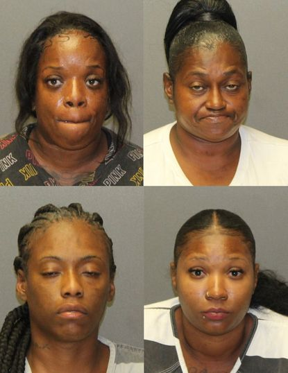 Sonnova Winchester, Lattie Dower, Shanay Jackson and Sade Johnson, pictured clockwise starting in the top left, have each been charged with stealing more than $5,600 worth of merchandise from two stores in the Abingdon area.