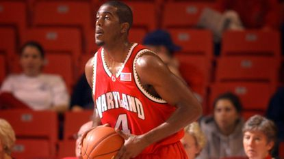 Travis Garrison with the Terps in 2002.