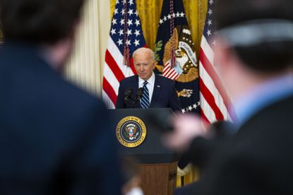 President Joe Biden during his first formal news conference, at the White House in Washington on Thursday, March, 25 2021. President Biden said in that session that democracy was in competition with the autocratic model.