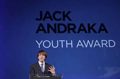 Jack Andraka, shown in a 2012 photo at a November event where he received Smithsonian Magazine's American Ingenuity Award for youth achievement.