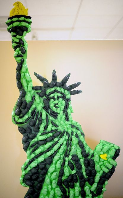 """The Statue of Liberty is fashioned out of Peeps in """"Statue of Peeperty."""""""