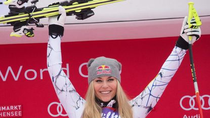 Lindsay Vonn of USA celebrates winning the Women's Downhill competition of the FIS Ski World cup in Zauchensee, Austria, in this 2016 file photo.