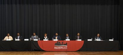 Eight candidates in the City Council District 7 race take part in the Baltimore City League of Women Voters Candidate Forum at the Baltimore City Community College.