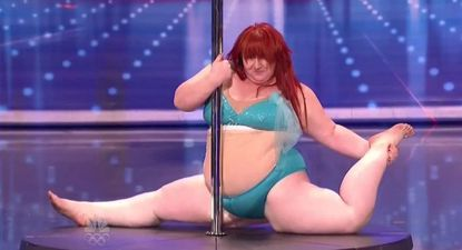 """Lulu, a pole dancer from Landover, Md. runs through her routine on """"America's Got Talent."""""""