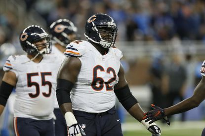 Chicago Bears offensive guard Vladimir Ducasse (62) during the second half of an NFL football game against the Detroit Lions, Sunday, Oct. 18, 2015, in Detroit.