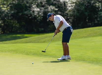 Lorenzo Sanz putts during the AJGA UHY/The First Tee of Greater Baltimore Junior Championship at Hillendale Country Club on Aug. 13.