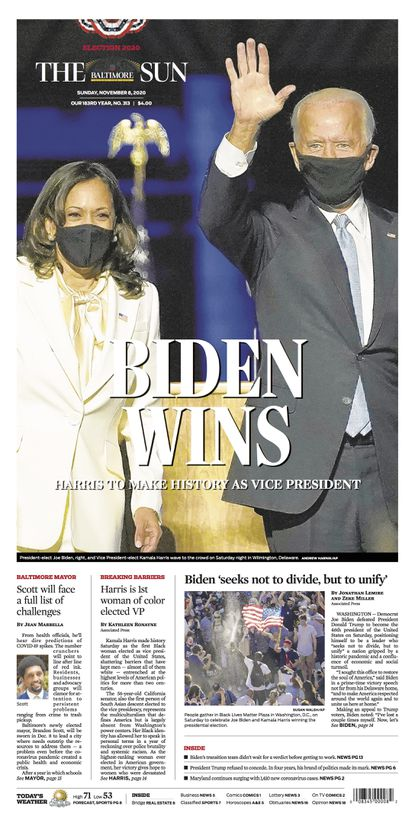 The Baltimore Sun front page on November 8, 2020 announces Joe Biden as the winner of the election for President of the United States of America.