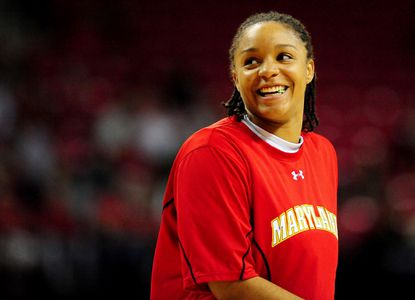 Former Maryland guard Anjale Barrett warms up before a 2012 NCAA tournament game against Navy in the first round.