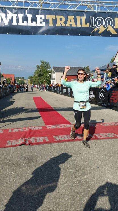 """Gretchen Shuey, of Catonsville, crossed the finish line at the Leadville Trail 100 in Colorado in under 30 hours. She said, """"The biggest motivation for me when I wasn't feeling great was I kept thinking about all the people that supported me to get me there."""" hours."""