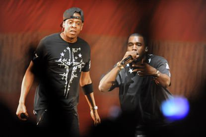 Kanye West and Jay-Z perform at 1st Mariner Arena Nov. 1, 2011.