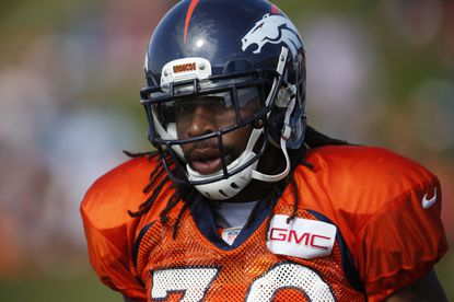 Denver Broncos strong safety David Bruton (30) during drills at the team's NFL football training camp session Wednesday, Aug. 19, 2015, in Englewood, Colo. The veteran Bruton will be starting Sunday against the Ravens.