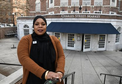 Konica Rice of Baltimore, who is a food service worker at Johns Hopkins University, worries about the possibility of layoffs due to the coronavirus outbreak.