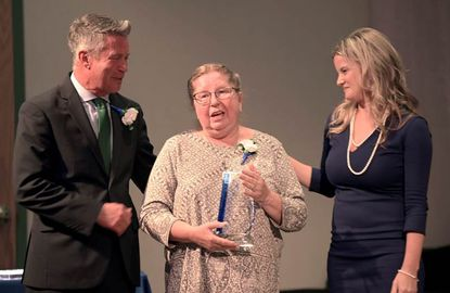 2019 Ripple Effect Award winner Carol Hansen, center, was the winner of the 2019 Ripple Effect Award at the Harford's Most Beautiful People Awards on Oct. 10. She's joined by County Executive Barry Glassman, left, and Director of Community Services Amber Shrodes.