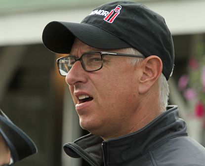 Trainer Todd Pletcher talks about his two Kentucky Derby hopefuls, Outwork and Destin, outside his barn at Churchill Downs in Louisville, Ky., Sunday, May 1, 2016.