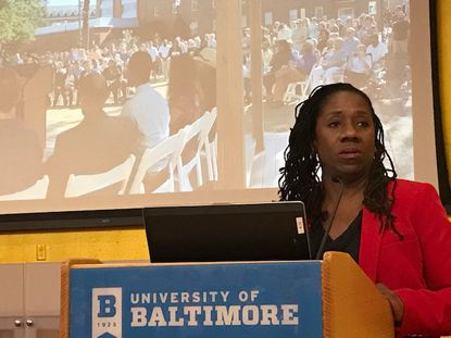 Sherrilyn Ifill, shown here speaking at a University of Baltimore School of Law event, was asked on Friday to give up her seat on an Amtrak train returning to Baltimore from New York.