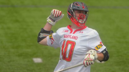 Maryland sophomore attackman Jared Bernhardt, celebrating an April goal, will be leaned on to ignite the offense.