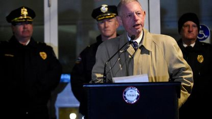 Del. Haven Shoemaker, R-District 5, speaks during a ceremony honoring Carroll law enforcement in Westminster.