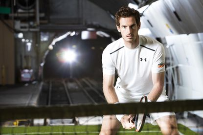 Andy Murray debuts his new custom Under Armour kit and footwear in a secret tennis court hidden underground at the Postal Museum in London as he prepares for Wimbledon.
