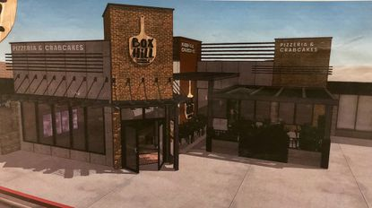 Box Hill Pizzeria in Abingdon is undergoing renovations. Owners say the pergola structure to the right will look different than this drawing.