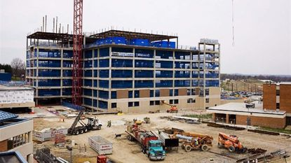 Construction is seen underway on a new patient tower at MedStar Franklin Square Hospital that opened in 2010.