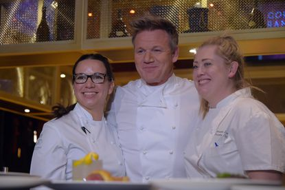 Gordon Ramsay flanks executive chef, US division Christina Wilson (left) and outlet executive chef Samantha Love of Owings Mills during the press event highlighting the opening of Baltimore's Gordon Ramsay Steak at Horseshoe Casino.