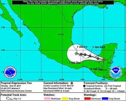 Tropical Depression Two is not expected to become Tropical Storm Barry, nor to affect U.S. shores.