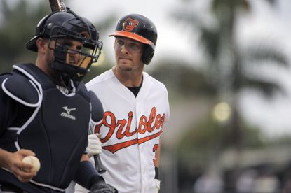 Baltimore Orioles batter Caleb Joseph during Grapefruit League action at Ed Smith Stadium. Joseph is the likely Opening Day starter at catcher for the Orioles.